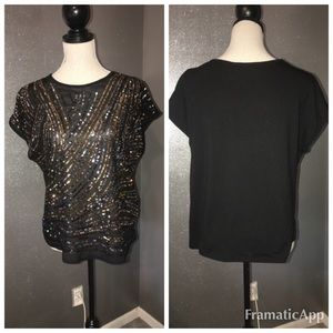 Forever 21 black and gold sequin top